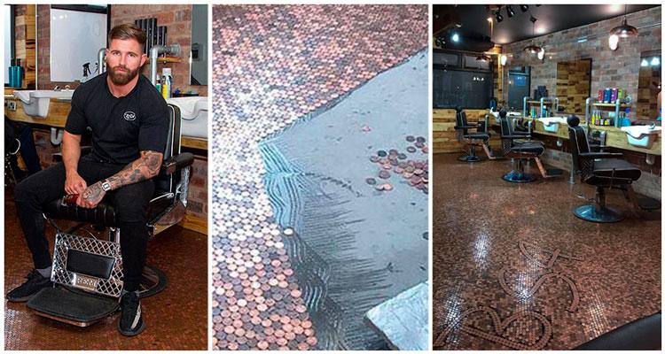 Homem faz o piso de sua barbearia com moedas e o resultado é incrível