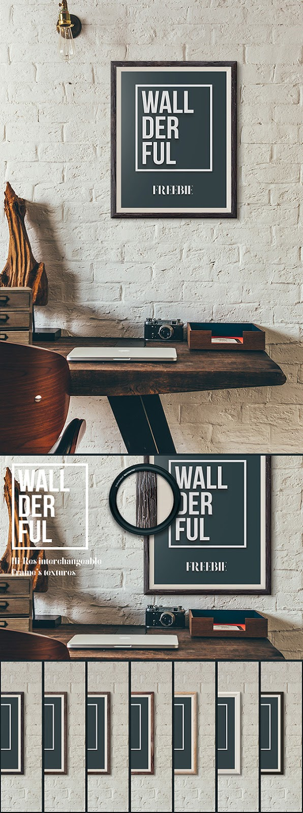 Download Poster Mockup PSD Terbaru Gratis - Wallderful Free Frame Mockups