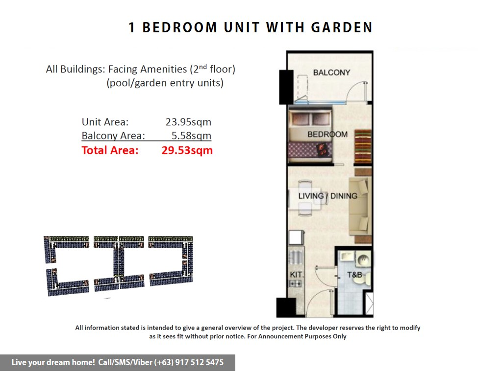 Floor Plan of SMDC Shore Residences - 1 Bedroom With Garden | Condominium for Sale SM Mall of Asia Pasay
