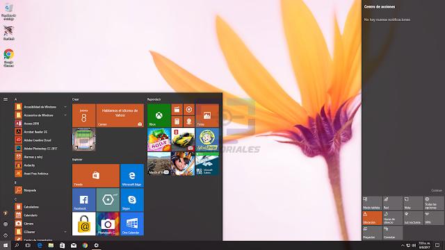 Menú inicio y barra de notificaciones de Windows 10