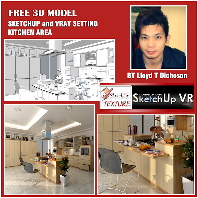 sketchup model vray 1.49 setting kitchen area