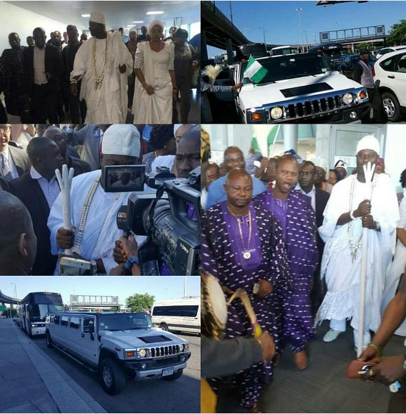 Ooni of Ife arrives USA in style, rides Hummer
