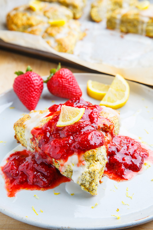 Lemon Poppy Seed Ricotta Scones with Strawberry Sauce Recipe