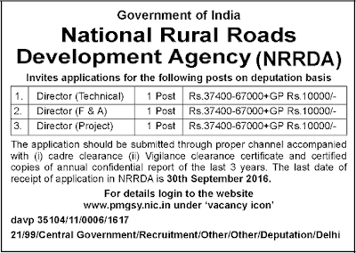 NRRDA (National Rural Roads Development Agency) Recruitment Notification