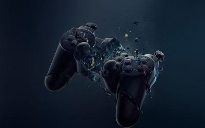 Gamepad Playstation Explose - Fond d'Écran en Full HD 1080p