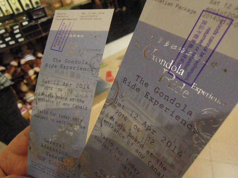Gondola ride tickets