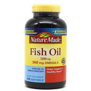 Viên Dầu Cá Nature Made Fish Oil  200 viên Hàm Lượng Omega 3  Hàng Xách Tay Từ Mỹ