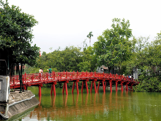 Red Huc Bridge on Hoan Kiem Lake in Hanoi, Vietnam