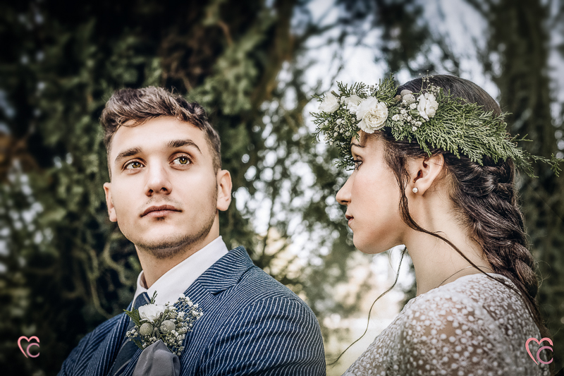 Winter elopement, a Chieri,in Italian un bosco di cipressi