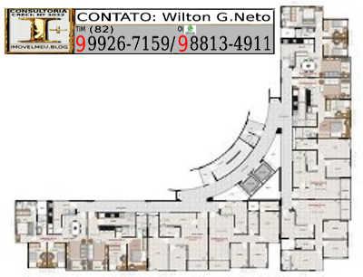 pavimento tipo oito apartamentos por andar sendo 4 de 2 quartos e outros 4 de 3 quartos.