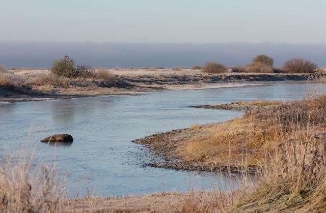 на реке осенью