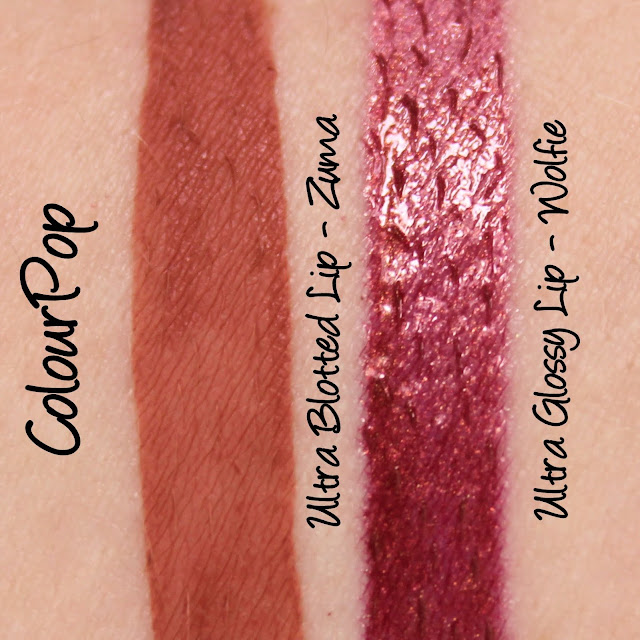 ColourPop Ultra Blotted Lip - Zuma, Ultra Glossy Lip - Wolfie Swatches & Review