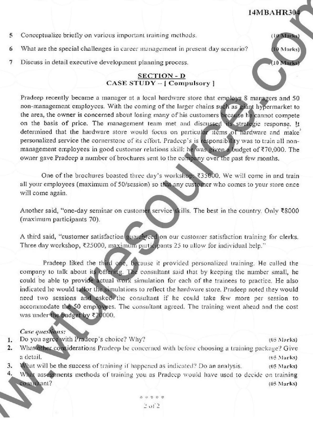 e-Paatashala: VTU MBA Third Semester Question Paper