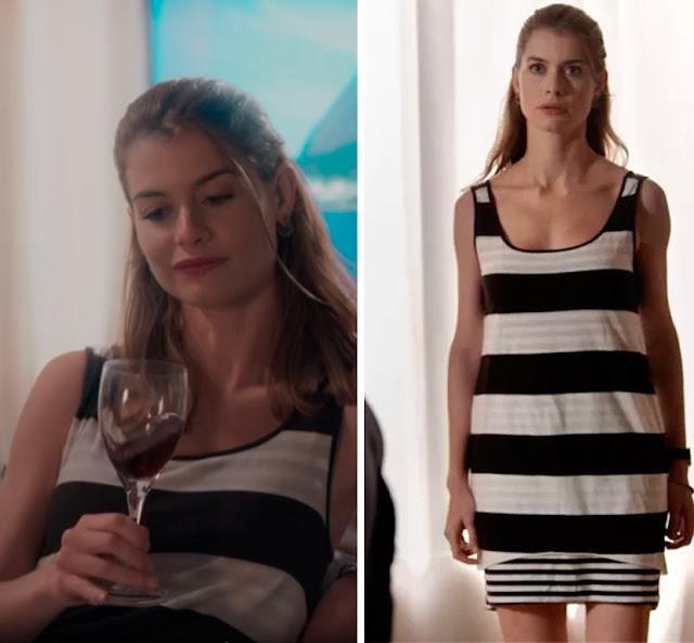 Figurino Livia (Aline Moraes), nova fase, Além do tempo, vestido listrado