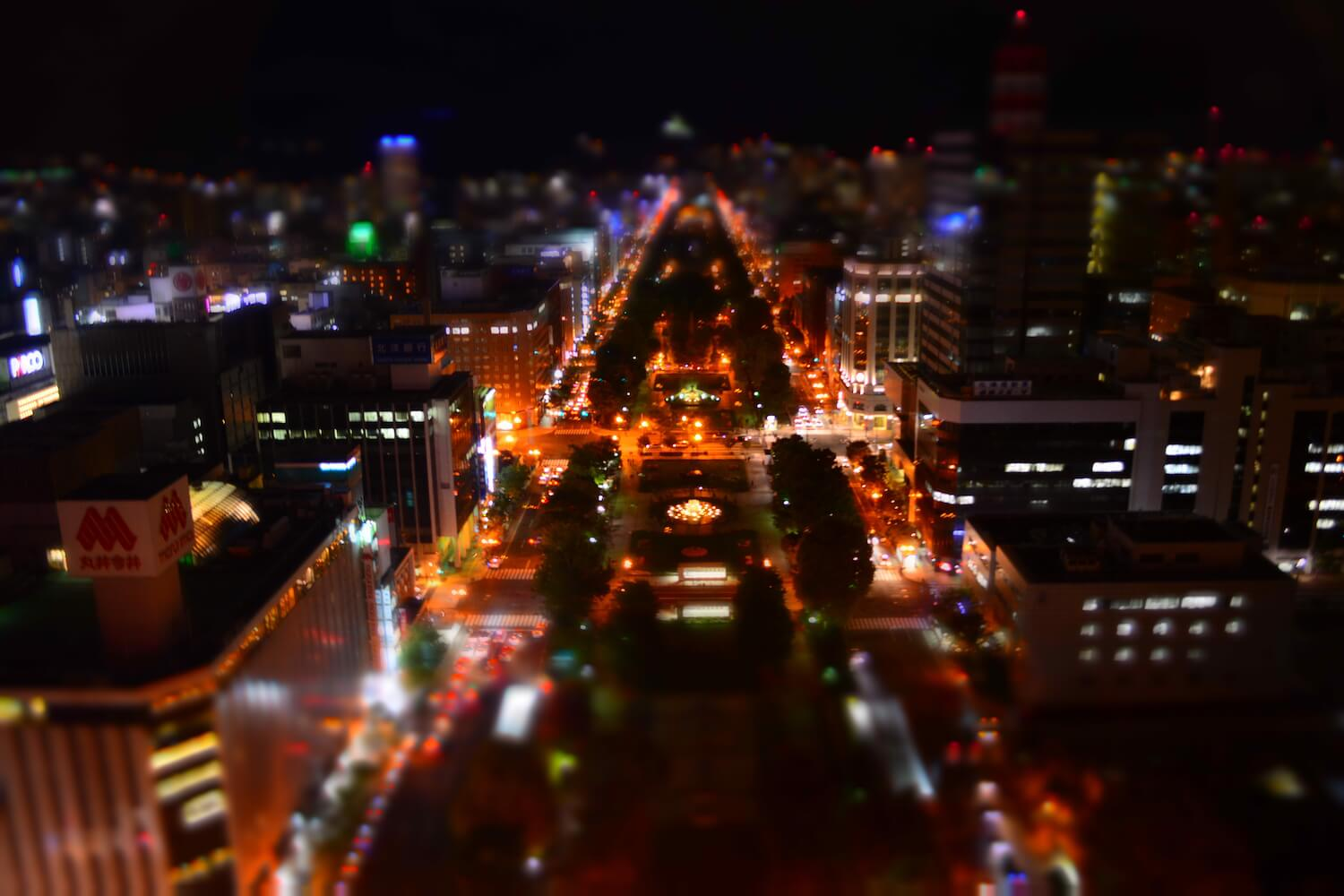 night view sapporo city centre tv tower view