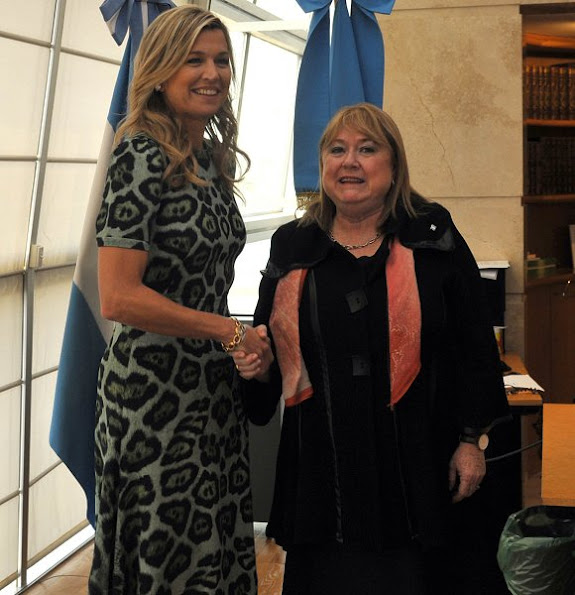 Queen Maxima wears GIVENCHY Leopard Print A-line Dress