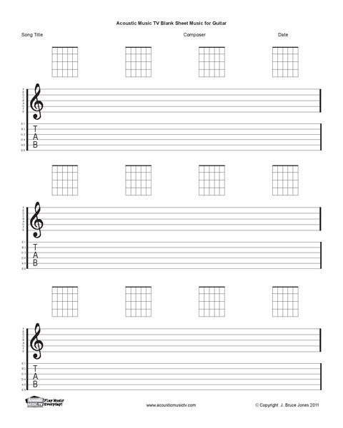 Acoustic Music TV Blank Sheet Music-Guitar