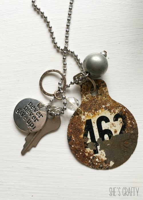 never never give up, necklace, charm, vintage