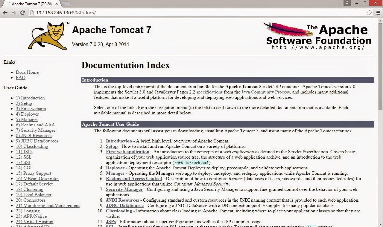 apache tomcat interface gráfica documentação
