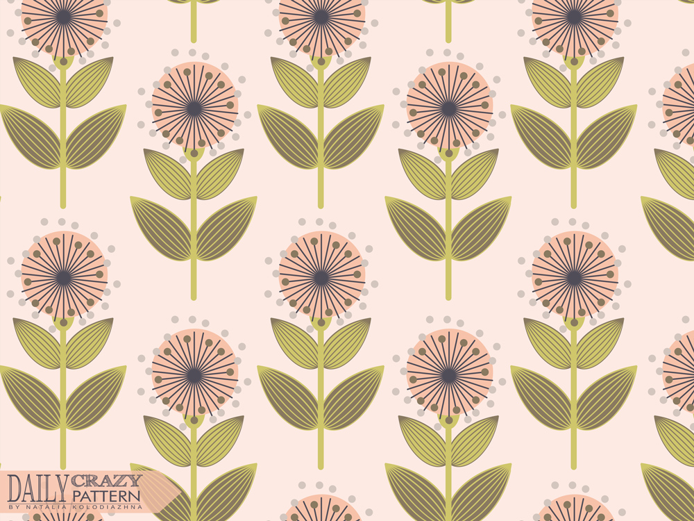 "Vintage pattern with flowers for ""Daily Crazy Pattern"" project"