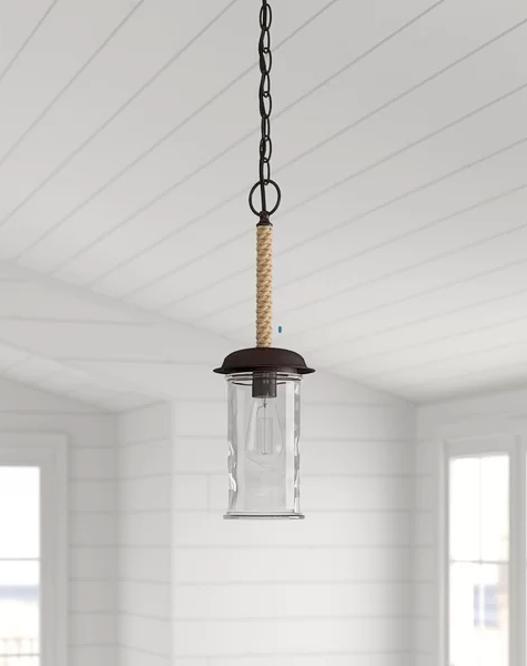 Rope Glass Pendant Hanging Light Single Bulb