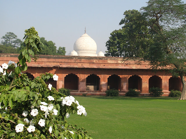 top dome of mosoleum behind the wall