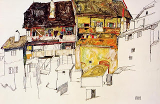 Drawing of houses by Egon Schiele; detailed description follows in caption.