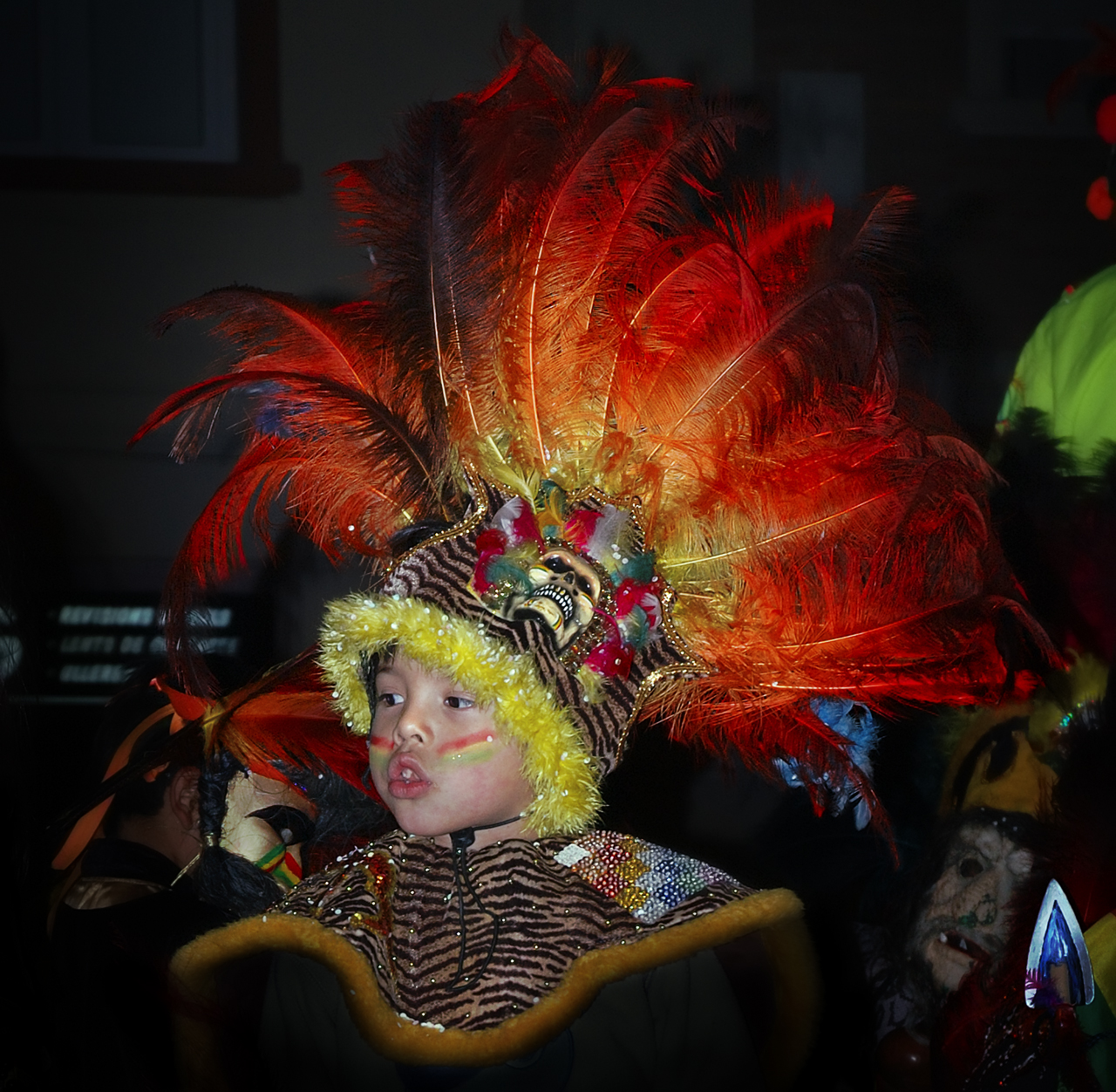 Kid wearing indigenous carnival feathered costume