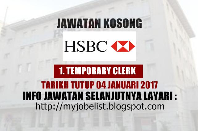 Jawatan Kosong HSBC Bank Malaysia Berhad Januari 2017