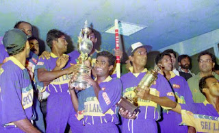 ICC Cricket World Cup 1996 Winner Sri lanka in happy mood with trophy in flight