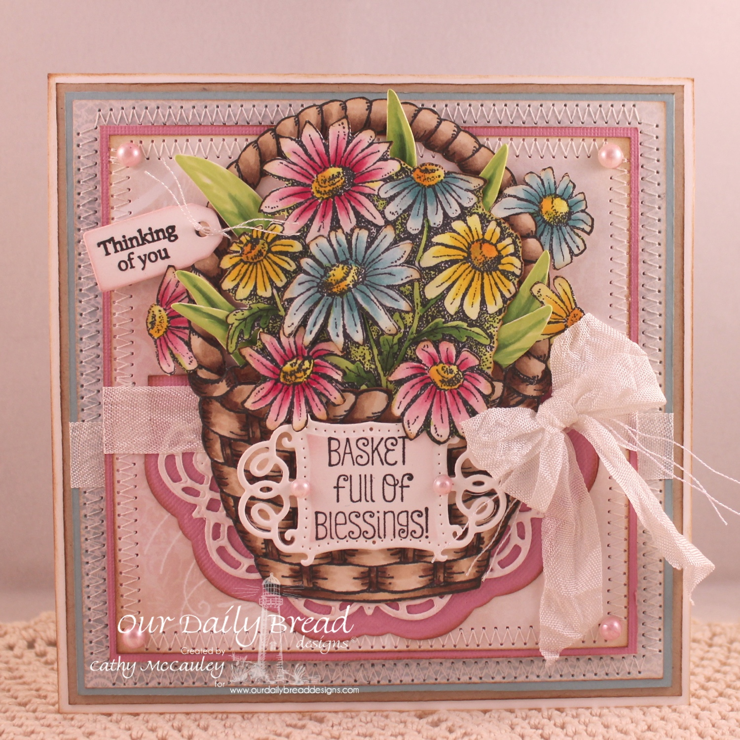 Stamps - Our Daily Bread Designs Basket of Blessings, Daisy, Mini Tag Sentiments, ODBD Custom Mini Tags Dies, ODBD Custom Doily Dies, ODBD Custom Vintage Flourished Pattern Die, ODBD Shabby Rose Paper Collection, ODBD Custom Zinnia and Leaves Dies
