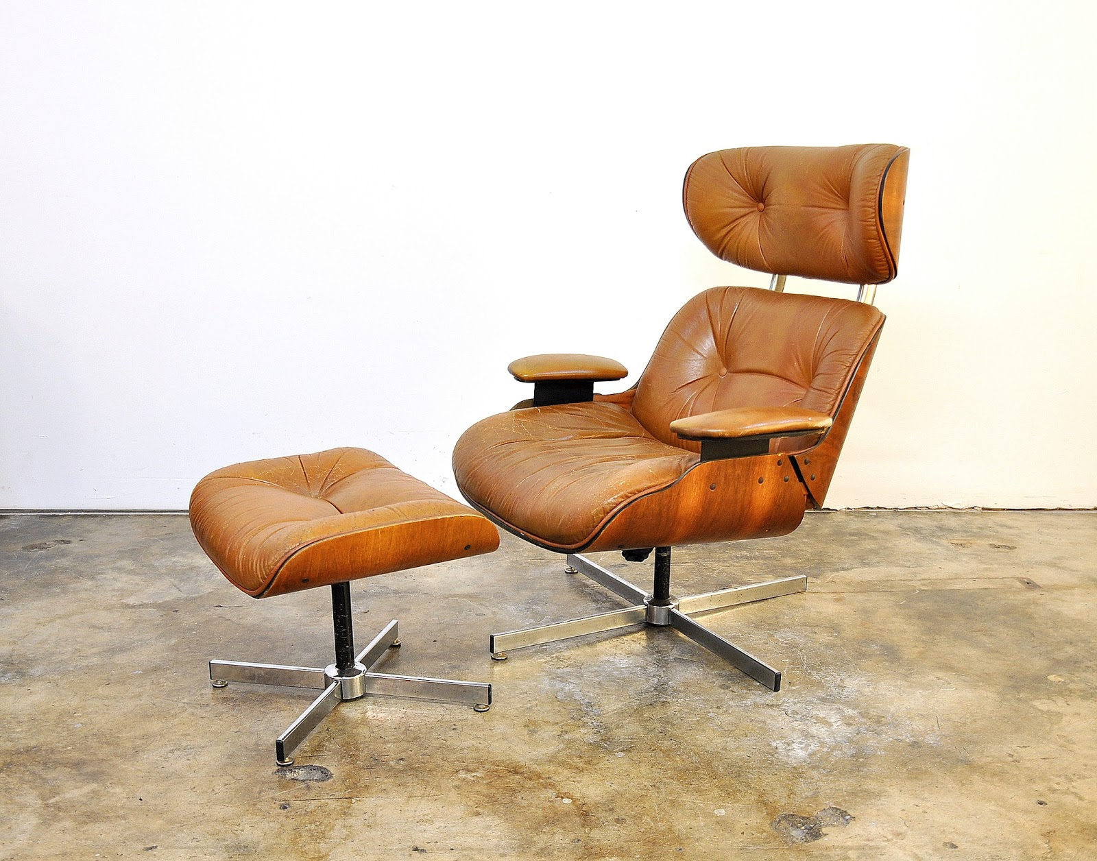 Etonnant Frank Doerner For Selig Eames Style Butterscotch Lounge Chair U0026 Ottoman