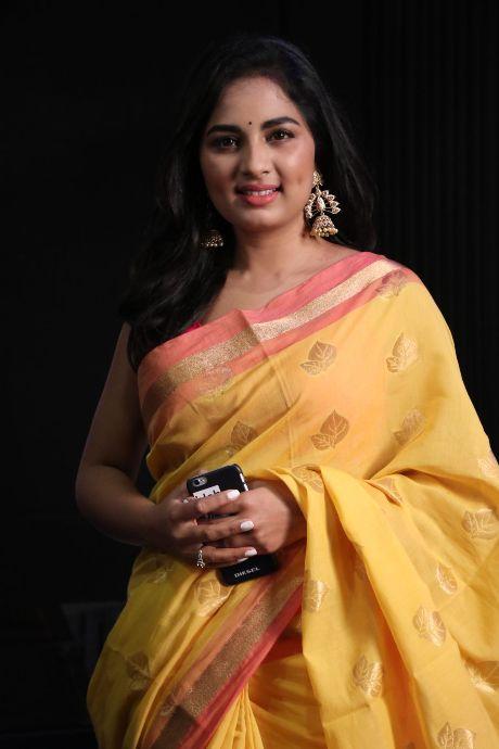 Actress Srushti Dange Stills In Yellow Traditional Silk Saree