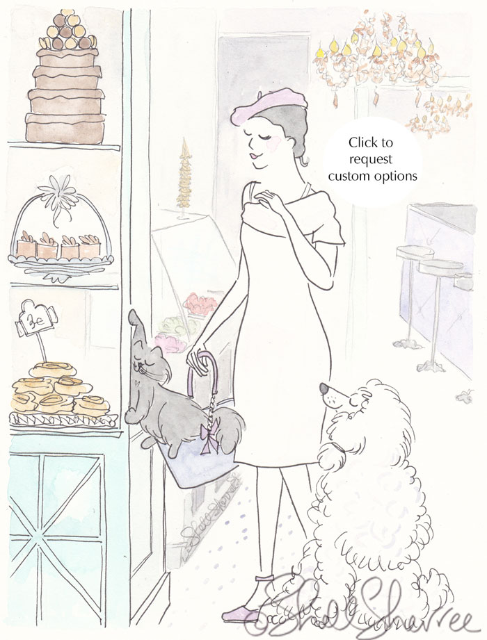 Poodle, Paris and Pâtisseries, Beret and Black Cat fashion illustration © Shell Sherree all rights reserved