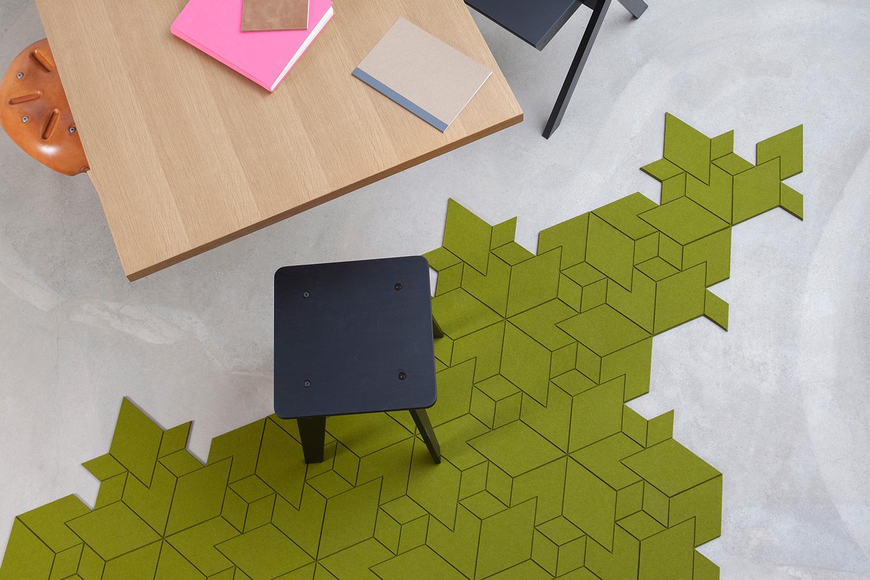 dywan geometryczny zielony