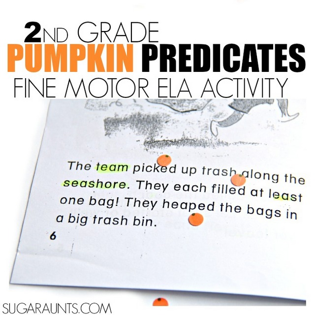 Pumpkin Predicate and Noun activity for second grade English Language Arts.  Kids will love to identify the pumpkin predicate with these cute DIY pumpkin stickers!