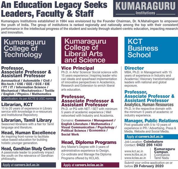 Kumarguru Institutions Biotech Faculty Jobs 2020