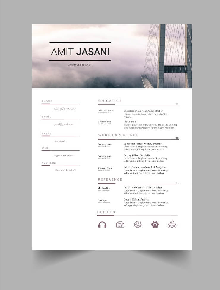 Download Template CV Word 100% Gratis - Free Bridges CV template