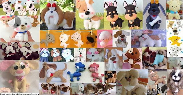 Cachorrinhos com moldes de feltro