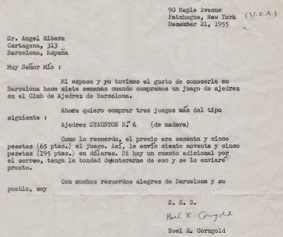 Carta de Noel R. Corngold a Ángel Ribera, 1955