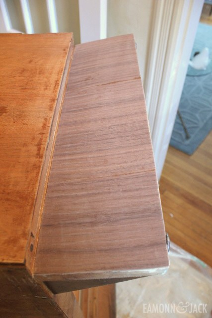 repaired veneer prior to staining