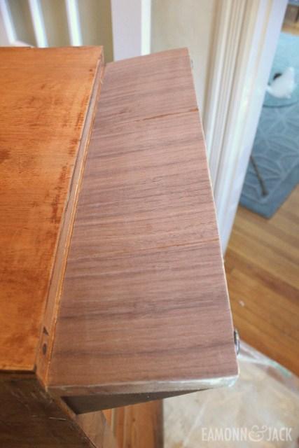 repaired veneer prior to staining
