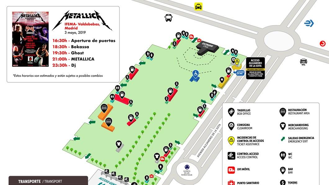 Metallica mapa del recinto