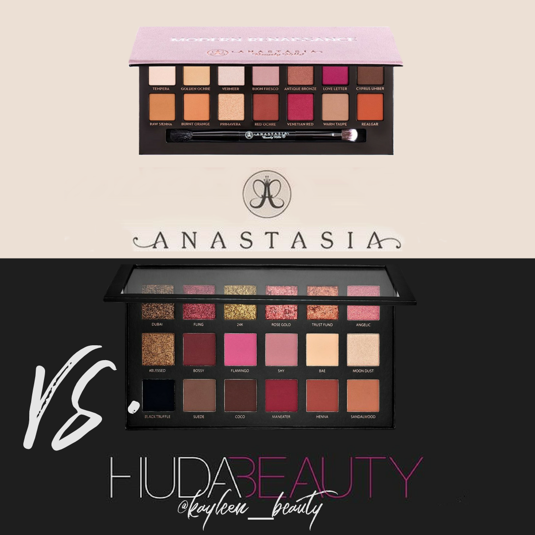 Modern Renaissance vs. Rose Gold Palette: Huda Beauty vs Anastasia Beverly Hills.