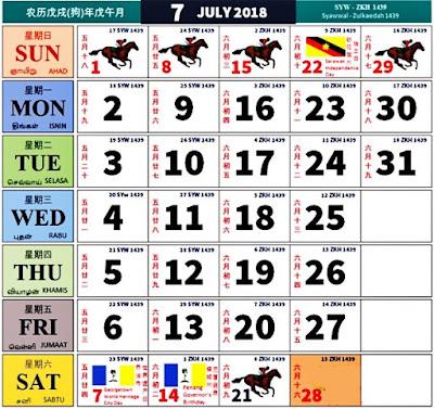 Kalendar Kuda Tahun 2018 Malaysia