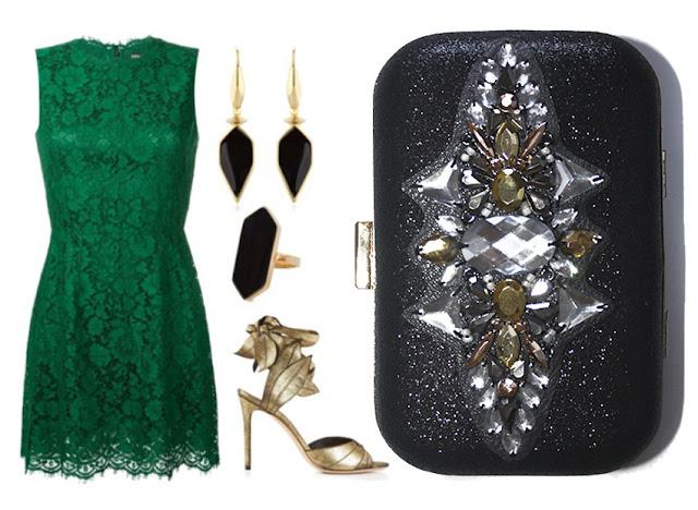 Look de invitada con vestido verde y bolso joya negro y dorado