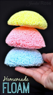 Homemade floam is easy to make and SO FUN!  Much cheaper than store bought, too!