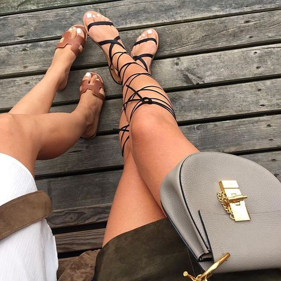Lace Up Gladiator Sandals + Chloe Drew Bag + Hermes Slippers