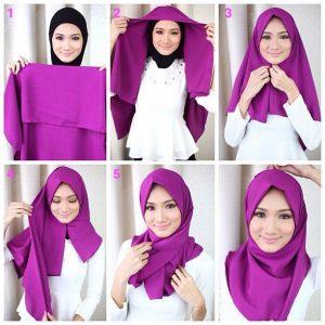 Tutorial hijab segi empat yang simple tapi keren.
