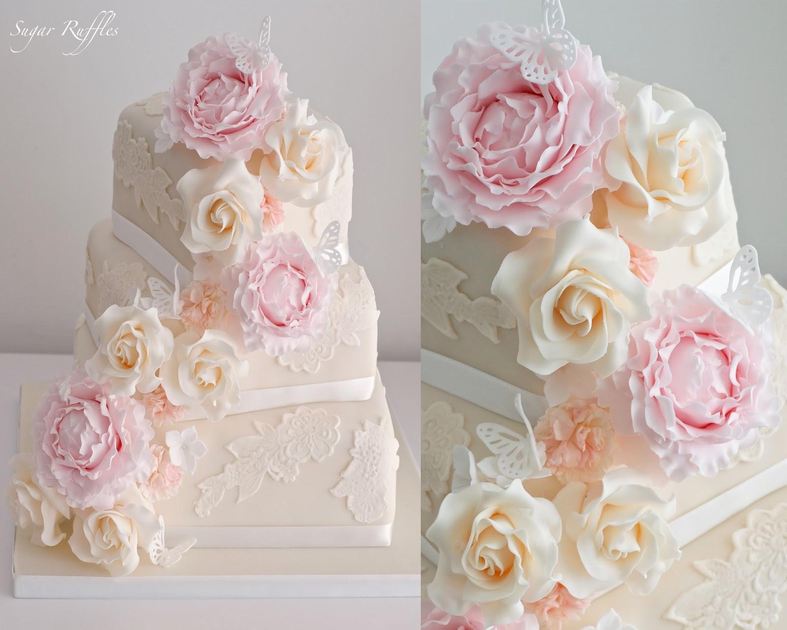 Tiffany Blue And Pink Wedding Cake